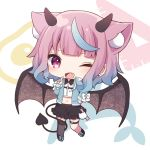 1girl ;d absurdres animal_ear_fluff animal_ears bangs black_footwear black_skirt blue_bow blue_hair blue_jacket bow brown_wings chibi collared_shirt demon_girl demon_horns demon_tail demon_wings dress_shirt ear_piercing earrings eyebrows_visible_through_hair fang frilled_skirt frills full_body gradient_hair grey_legwear heart_ring highres horns iriam jacket jewelry long_sleeves midriff multicolored_hair navel official_art one_eye_closed open_clothes open_jacket open_mouth piercing pink_hair sakuma_miku sapphire_(sapphire25252) shirt shoes skirt sleeves_past_wrists smile solo standing standing_on_one_leg stud_earrings tail thigh-highs thigh_strap violet_eyes virtual_youtuber white_background white_bow white_shirt wings