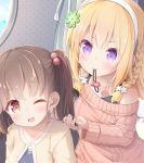 2girls bangs blonde_hair braid brown_hair cable_knit clover_hair_ornament comb combing copyright_request eyebrows_visible_through_hair hair_bobbles hair_ornament hairband highres medium_hair mouth_hold multiple_girls one_eye_closed pirason sweater tank_top twintails undershirt violet_eyes yellow_eyes