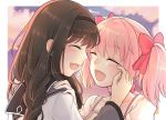 2girls absurdres akemi_homura black_hair closed_eyes clouds cloudy_sky couple happy happy_tears highres kaname_madoka lavender197 long_hair mahou_shoujo_madoka_magica medium_hair multiple_girls open_mouth pink_hair short_twintails sky smile tearing_up tears twintails yuri