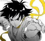 1girl black_hair choker clenched_hand dougi downblouse fighting_stance furrowed_eyebrows graphite_(medium) greyscale karate_gi lips makoto_(street_fighter) monochrome rejean_dubois ribbon_choker sarashi serious short_hair solo spot_color street_fighter street_fighter_iii_(series) tomboy traditional_media twitter_username watermark web_address yellow_choker