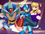 alia_(rockman) armor arms_behind_back blonde_hair blue_armor blue_eyes blush bound bound_wrists buster carrying copy_x couple deviantart green_eyes happy helmet pink_armor red_eyes rescue restrained robot rockman rockman_x rockman_x_dive rockman_zero sincity2100 tied_up x_(rockman) x_buster