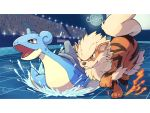 arcanine black_eyes blurry closed_mouth commentary_request crowd fire gen_1_pokemon horns lapras letterboxed open_mouth peron_(niki2ki884) pokemon pokemon_(creature) running single_horn smile stadium tile_floor tiles tongue water