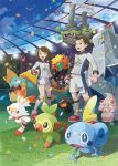 1boy 1girl alcremie bangs brown_eyes brown_hair clenched_hand clouds collared_shirt confetti day drednaw galarian_form galarian_weezing gen_8_pokemon gloves gossifleur grass grookey holding holding_poke_ball number official_art poke_ball pokemon pokemon_(creature) pokemon_(game) pokemon_swsh rolycoly scorbunny shiny shiny_hair shirt shorts single_glove sky sobble socks stadium standing starter_pokemon_trio swept_bangs