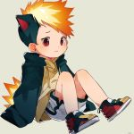 1boy 3: animal_ears black_hair blonde_hair child drawstring earrings english_commentary gen_2_pokemon highres jewelry knees_up long_sleeves looking_at_viewer male_focus multicolored_hair orange_eyes personification pokemon pullover quilava red_eyes shoes shorts simple_background sleeves_past_fingers sleeves_past_wrists solo stud_earrings thebrushking white_shorts