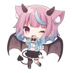 1girl ;d absurdres animal_ear_fluff animal_ears bangs black_footwear black_skirt blue_bow blue_hair blue_jacket bow brown_wings chibi collared_shirt demon_girl demon_horns demon_tail demon_wings dress_shirt ear_piercing earrings eyebrows_visible_through_hair fang frilled_skirt frills full_body gradient_hair grey_legwear heart_ring highres horns iriam jacket jewelry long_sleeves midriff multicolored_hair navel official_art one_eye_closed open_clothes open_jacket open_mouth piercing pink_hair sakuma_miku sapphire_(sapphire25252) shirt shoes simple_background skirt sleeves_past_wrists smile solo standing standing_on_one_leg stud_earrings tail thigh-highs thigh_strap violet_eyes virtual_youtuber white_background white_bow white_shirt wings