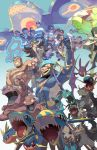 6+boys 6+girls abs anchor archie_(pokemon) bandana brown_hair carvanha commentary_request crobat dark_skin ege_(597100016) facial_hair gen_1_pokemon gen_2_pokemon gen_3_pokemon gloves grimer kyogre legendary_pokemon matt_(pokemon) mightyena muk multiple_boys multiple_girls muscle navel open_mouth pokemon pokemon_(game) pokemon_oras poochyena primal_kyogre rayquaza sharpedo shelly_(pokemon) shirtless skin_tight team_aqua team_aqua_grunt teeth zinnia_(pokemon)