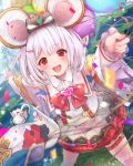 1girl animal animal_ears balloon blush confetti crop_top dated fake_animal_ears frills garters granblue_fantasy grass hair_ornament hairclip heart holding holding_balloon japanese_clothes kimono leg_garter long_sleeves mouse mouse_ears navel nigo open_mouth red_eyes red_neckwear signature skirt sparkle vikala_(granblue_fantasy) white_hair wide_sleeves