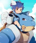 1boy :> backpack bag bangs blastoise blue_footwear blue_hair blue_shirt blue_sky blue_theme carrying child closed_mouth clouds day english_commentary gen_1_pokemon head_wings highres looking_afar looking_at_another male_focus orange_eyes outstretched_arm personification pointing pokemon pokemon_(creature) shirt shoes shoulder_carry side_slit sky sleeves_past_wrists socks tail thebrushking wartortle