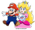 1boy 1girl blonde_hair blue_eyes boots brown_hair crown drawloverlala dress earrings elbow_gloves gem gloves hat holding_arm human_shield jewelry mario mario_(series) overalls pink_dress princess_peach red_shirt shirt shoulder_pads simple_background super_mario_bros. upper_body white_background white_gloves