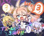 >_< 3girls :d ;d ^_^ ahoge antenna_hair asimo953 azur_lane bangs bare_shoulders black_background blonde_hair blue_eyes blush_stickers boots center_opening chibi chibi_inset closed_eyes commentary_request detached_sleeves dress drill_hair elbow_gloves electric_plug eyebrows_visible_through_hair fang fangs fingerless_gloves full_body gloves hair_between_eyes hair_ornament hair_ribbon highres long_hair looking_at_viewer multicolored_hair multiple_girls navel notice_lines one_eye_closed open_mouth pink_hair prototype_bulin_mkii_(azur_lane) ribbon silver_hair simple_background skin_fang skin_fangs smile specialized_bulin_mkiii_(azur_lane) starry_background strapless strapless_dress thigh-highs thigh_boots translation_request twin_drills twintails two_side_up universal_bulin_(azur_lane) v_over_eye very_long_hair white_dress white_footwear white_gloves white_legwear white_sleeves xd yellow_gloves
