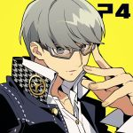 1boy black_jacket collared_shirt copyright_name enotou_(enotou_moi) glasses grey-framed_eyewear grey_eyes grey_hair jacket long_sleeves male_focus narukami_yuu parted_lips persona persona_4 school_uniform shirt simple_background solo upper_body white_shirt yasogami_school_uniform yellow_background