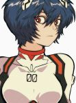 1girl :o ayanami_rei blue_hair highres looking_to_the_side neon_genesis_evangelion open_mouth pikurusu pilot_suit plugsuit red_eyes short_hair solo symbol_commentary