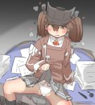 1girl blush brown_eyes brown_hair desk hat heart heavy_breathing highres japanese_clothes kantai_collection lifted_by_self long_hair long_sleeves magatama namakura_neo open_mouth panties paper pleated_skirt ryuujou_(kantai_collection) skirt skirt_lift solo spread_legs twintails underwear visor_cap white_panties