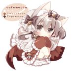 1girl :o animal_ear_fluff animal_ears bangs black_bow blush boots bow brown_kimono capelet cat_ears chibi commentary_request cross-laced_footwear eyebrows_visible_through_hair frilled_capelet frilled_sleeves frills full_body grey_eyes grey_hair hair_between_eyes hair_bow heart japanese_clothes kimono knees_up lace-up_boots long_sleeves looking_at_viewer original parted_lips shikito sitting sleeves_past_fingers sleeves_past_wrists solo twintails white_background white_capelet white_footwear