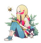 1girl aqua_eyes blonde_hair blush closed_mouth commentary eyelashes facepaint full_body gen_7_pokemon hair_tie highres holding leaf long_hair mina_(pokemon) morelull multicolored_hair pants pink_hair pokemon pokemon_(creature) pokemon_(game) pokemon_sm ribombee shoes sitting sketchbook tied_hair two-tone_hair yamtteng