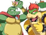 2boys blue_eyes bowser bracelet crown donkey_kong_(series) earrings highres horns jewelry king_k._rool super_mario_bros. multiple_boys new_super_mario_bros._u_deluxe open_mouth redhead smile spiked_bracelet spikes super_crown super_smash_bros. teeth tina_fate