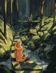 absurdres cindy_(pigeoncindy_) commentary english_commentary fallen_tree floatzel forest gen_4_pokemon gen_6_pokemon greninja highres mushroom nature no_humans outdoors pokemon pokemon_(creature) rock shadow stream tongue water