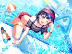 bang_dream! black_hair blush mitake_ran pool red_eyes short_hair smile swimsuit wink