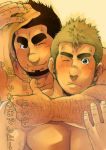 2boys abs arm_around_shoulder arm_hair bara blonde_hair blush body_hair chest couple facial_hair highres hug hug_from_behind male_focus manly masateruteru multiple_boys muscle one_eye_closed original pectorals shirtless short_hair sideburns smile thick_eyebrows towel translation_request upper_body wiping