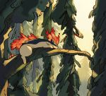 artist_name cindy_(pigeoncindy_) closed_eyes commentary day english_commentary fire flame gen_2_pokemon highres no_humans outdoors pokemon pokemon_(creature) quilava silhouette sleeping tree