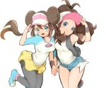 2girls aqua_eyes baseball_cap black_legwear black_vest blue_eyes blush bow breasts brown_hair chorimokki closed_mouth commentary_request denim denim_shorts double_bun hat high_ponytail hilda_(pokemon) holding_hands legwear_under_shorts long_hair looking_at_viewer multiple_girls open_mouth pantyhose pink_bow pokemon pokemon_(game) pokemon_bw pokemon_bw2 ponytail raglan_sleeves rosa_(pokemon) shirt shoes short_shorts shorts sidelocks sleeveless sleeveless_shirt smile sneakers tongue twintails vest visor_cap white_shirt wristband yellow_shorts