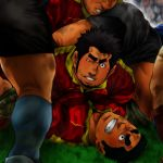 5boys bara black_hair blush chest dirty dirty_clothes dogpile facial_hair highres implied_yaoi male_focus manly masateruteru multiple_boys muscle on_person one_eye_closed original pectoral_docking pectoral_press rugby_uniform shoes short_hair shorts sideburns socks sportswear stubble thick_eyebrows thighs