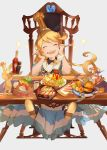 1girl absurdres blonde_hair blush_stickers chair charlotta_fenia clearhand cup dress drinking_glass drinking_straw food full_mouth granblue_fantasy hamburger happy harvin highres huge_filesize long_hair mini_flag omurice pointy_ears spoon table