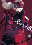 1girl ass blonde_hair blue_eyes bodysuit breasts cowboy_shot fake_tail floating_hair from_behind from_below gloves highres koda1ra lips long_hair looking_back mask medium_breasts persona persona_5 purple_gloves red_bodysuit shoulder_blades sideboob simple_background skindentation solo tail takamaki_anne trefoil twintails whip