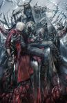 1boy black_footwear black_gloves bleeding blood bloody_clothes blue_shirt boots carrying coat dante_(devil_may_cry) denim devil_may_cry fangs fingerless_gloves full_body gloves haban_(haban35) hair_over_eyes highres horns jeans long_coat lying male_focus multiple_hands open_mouth pants red_coat shirt short_hair skeleton sleeves_folded_up solo white_hair