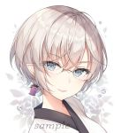 1girl ayuanlv bangs blue_eyes blush closed_mouth earrings eyebrows_visible_through_hair final_fantasy final_fantasy_xiv glasses grey_hair hair_between_eyes japanese_clothes jewelry kimono looking_at_viewer pointy_ears sample short_hair smile solo upper_body v-shaped_eyebrows water_drop white_background white_kimono