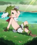 1boy antlers arm_support arm_up boots brown_footwear brown_gloves child cross-laced_footwear day english_commentary fingerless_gloves full_body gen_4_pokemon gloves grass green_eyes green_hair green_theme highres knee_up lace-up_boots looking_afar looking_away looking_up male_focus mythical_pokemon navel on_ground one_eye_closed open_mouth outdoors outstretched_leg personification pokemon scarf shading_eyes shadow shaymin shaymin_(sky) shorts sitting solo stream sunlight thebrushking topless water white_shorts