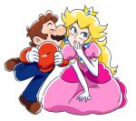 1boy 1girl blonde_hair blue_eyes boots brown_hair cheek_kiss closed_eyes crown drawloverlala dress earrings elbow_gloves full_body gem gloves hand_on_own_chin hand_on_own_knee hat hat_removed headwear_removed jewelry kiss kneeling looking_to_the_side mario mario_(series) nintendo overalls pink_dress princess_peach red_shirt shirt shoulder_pads simple_background super_mario_bros. white_background white_gloves