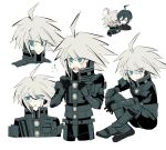 2boys ahoge android black_gloves black_legwear black_shirt blue_eyes blush boots character_sheet chibi clenched_hands closed_eyes closed_mouth commentary crossed_ankles d: danganronpa disconnected_mouth eyes_visible_through_hair flying_sweatdrops gloves grey_theme hands_on_own_knee high_collar keebo knee_boots looking_to_the_side male_focus multiple_boys multiple_views new_danganronpa_v3 open_mouth power_armor saihara_shuuichi shirt silver_hair simple_background sitting taesok upper_body upper_teeth v-shaped_eyes white_background white_skin