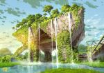 artist_logo blue_sky building circle_name clouds cloudy_sky commentary_request day english_text grass highres ivy no_humans original outdoors overgrown post-apocalypse ruins scenery sky tokyo_big_sight tokyogenso tree water waterfall
