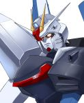 absurdres close-up cosmikaizer english_commentary freedom_gundam gundam gundam_seed highres looking_down mecha no_humans parody redesign solo style_parody v-fin white_background yellow_eyes yuusha_series