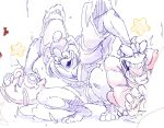 2boys black_eyes blue_eyes coat commentary crossover donkey_kong donkey_kong_(series) english_commentary eye_pop fur-trimmed_coat fur_trim furry gen_1_pokemon grabbing hand_on_another's_head hat highres jigglypuff jpeg_artifacts king_dedede kirby_(series) looking_down male_focus motion_lines multiple_boys muscle open_mouth pokemon pokemon_(creature) sash sketch smile smoke squatting star_(symbol) starmilk super_smash_bros. tears teeth tongue wall-eyed wide-eyed