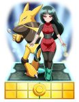 1girl alakazam black_hair breasts closed_mouth dress gen_1_pokemon gym_leader highres long_hair looking_at_viewer pantyhose pokemon pokemon_(creature) pokemon_(game) pokemon_rgby red_eyes sabrina_(pokemon) very_long_hair yensh