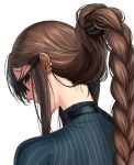 1girl bangs blue_sweater braid brown_hair choker commentary_request consort_yu_(fate) ear_piercing earrings fate/grand_order fate_(series) from_behind glasses hair_lift highres jewelry long_braid long_hair looking_at_viewer looking_back nape neck piercing pinstripe_pattern sidelocks single_braid solo striped striped_sweater sweater very_long_hair zonotaida