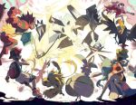 1boy 1girl backpack bag bare_arms black_legwear bracelet brown_hair commentary ege_(597100016) elio_(pokemon) espeon gen_2_pokemon gen_7_pokemon hand_up hat holding holding_poke_ball incineroar jewelry legendary_pokemon lycanroc lycanroc_(midnight) magearna minior mythical_pokemon necrozma necrozma_(dawn) necrozma_(dusk) necrozma_(ultra) poke_ball poke_ball_(basic) pokemon pokemon_(creature) pokemon_(game) pokemon_usum primarina red_headwear selene_(pokemon) shoes shorts sneakers socks toucannon white_shorts zeraora