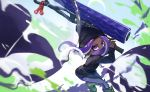 1girl action beanie black_headwear black_legwear black_sweater blurry boots commentary dark_skin droplet grey_footwear hat highres holding holding_weapon ink_1001 leaning_forward leggings long_hair long_sleeves looking_at_viewer makeup mascara octoling purple_hair single_vertical_stripe solo splat_roller_(splatoon) splatoon_(series) splatoon_2 standing suction_cups sweater tentacle_hair violet_eyes weapon