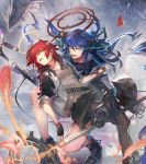 2girls :d arknights black_footwear black_gloves black_jacket black_legwear black_skirt blue_eyes blue_hair boots commentary_request exusiai_(arknights) gloves grey_shirt halo holding holding_staff horns jacket long_hair long_sleeves looking_at_viewer mismatched_gloves mostima_(arknights) multiple_girls nijimaarc open_clothes open_jacket open_mouth originium_arts_(arknights) pantyhose raglan_sleeves redhead shirt skirt smile staff white_gloves
