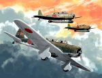 aircraft airplane b5n bomb bomber clouds cockpit day dive_bomber landing_gear matsuda_juukou military military_vehicle original propeller shadow sky torpedo weapon world_war_ii