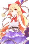 1girl bangs belt blonde_hair blush bow bowtie chain cowboy_shot eyebrows_visible_through_hair gourd hair_between_eyes hair_bow highres horn_bow horn_ornament horn_ribbon horns ibuki_suika long_hair nankotsu oni orange_eyes orange_hair red_bow red_neckwear ribbon shirt sidelocks simple_background skirt sleeveless sleeveless_shirt smile solo sphere torn_clothes torn_sleeves touhou very_long_hair white_background white_shirt wrist_cuffs