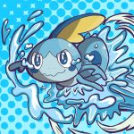 absurdres blue_background closed_mouth commentary crying crying_with_eyes_open english_commentary gen_8_pokemon harlequinwaffles highres no_humans pokemon pokemon_(creature) polka_dot polka_dot_background signature sobble solo tears water wavy_mouth