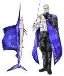 1boy absurdres animal blue_cape cape facial_hair fish grey_background highres holding holding_sword holding_weapon male_focus mustache old_man original personification rapier simple_background solo standing subakeye sword swordfish turtleneck weapon white_hair