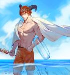 1boy absurdres black_horns chest_scar day food hand_in_pocket highres holding holding_food horns innertube kebab looking_at_viewer male_focus muscle navel nigel_(sdorica) orange_eyes outdoors pectorals r_suka redhead scar sdorica solo summer towel transparent wading water white_towel