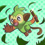 absurdres commentary creature english_commentary fang gen_8_pokemon green_background grookey harlequinwaffles highres holding holding_stick jumping leaf leaves_in_wind no_humans open_mouth pokemon pokemon_(creature) polka_dot polka_dot_background signature solo sparkle starter_pokemon stick