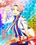 blue_eyes character_name dress idolmaster idolmaster_side-m kabuto_daigo pink_hair short_hair smile