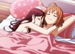 2girls absurdres ahoge armpits arms_behind_head bed bedroom blanket blush breasts closed_eyes commentary_request covering highres hug indoors kougi_hiroshi long_hair love_live! love_live!_sunshine!! medium_breasts multiple_girls nude_cover orange_hair pillow redhead sakurauchi_riko short_hair sleeping smile smug sunlight takami_chika wooden_floor yuri