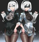 1girl adapted_costume black_jacket black_skirt black_sweater blazer blue_eyes breasts brown_legwear cowboy_shot fine_fabric_emphasis freshtango grey_sweater hairband hand_up highres holding jacket large_breasts looking_at_viewer miniskirt mole mole_under_mouth multiple_views nier_(series) nier_automata office_lady open_mouth pantyhose pencil_skirt short_hair side_slit silver_hair skirt standing sweater turtleneck turtleneck_sweater white_jacket white_skirt yorha_no._2_type_b